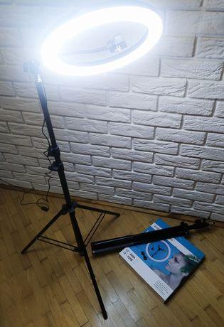 Кольцевая лампа(селфи,блог)30см+штатив 2м+держатель для телефона