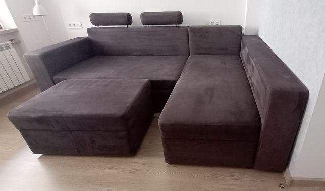 Угловой диван + пуфик