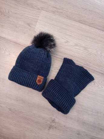 Комплект зимова шапка хомут на хлопчика 5-6р