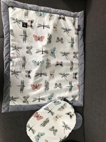 Kocyk Lanila grey wings + poduszka miś