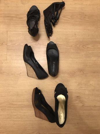 Czarne buty na koturniu