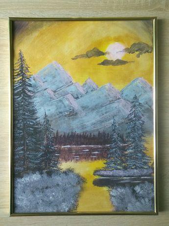 Obraz akrylowy krajobraz zima góry pejzaż zachód słońca