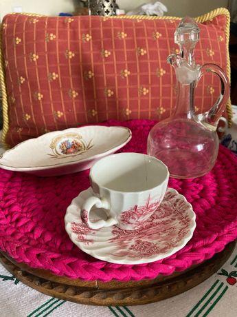 porcelana antigas vintage pintada a mão base copos Alcobaça