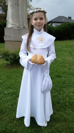 Piękna sukienka alba komunijna + dodatki 128-134 J.NOWA
