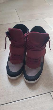 Buty sneakersy koturn skóra naturalna 39