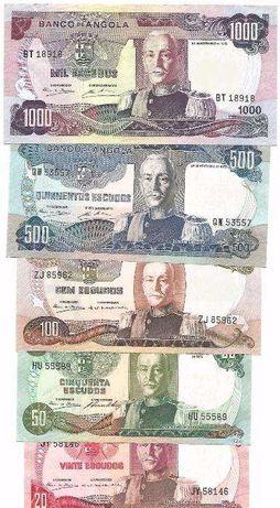 Angola 1972 Carmona UNC Novas Notas Escudos 20, 50, 100, 500, 1000