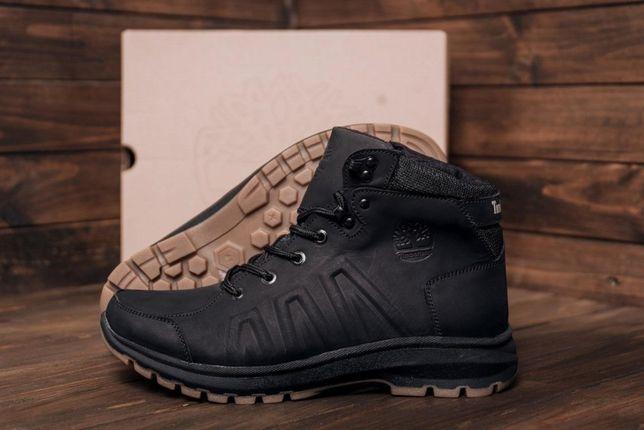 Мужские зимние кожаные ВLАСK leather ботинки Timberlend Стильные