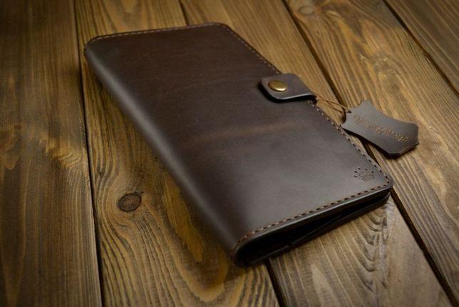 Кожаный мужской клатч (тревел), кошелек, портмоне ручной работы