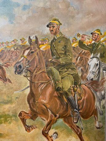 Ułani, konie kawaleria, antyk staroć malarstwo polskie szabla bagnet
