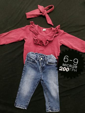 Набір одягу , святковий боді з пов'язкою та джинси carter's 6-9 місяці