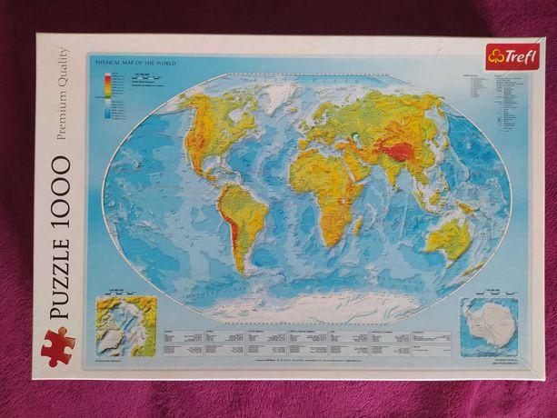 Puzzle 1000 Trefl Mapa fizyczna świata