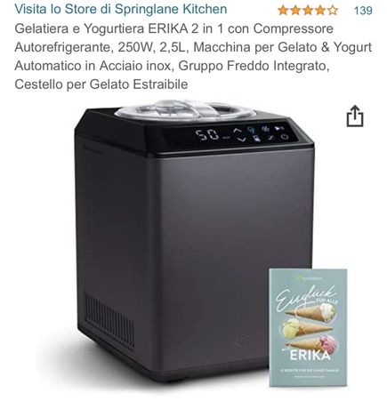 Gelatiera e Yogurtiera ERIKA 2 in 1 con Compressore Autorefrigerante,