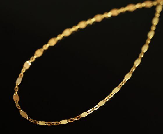 Złoto 585-złoty łańcuszek ankier z blaszką