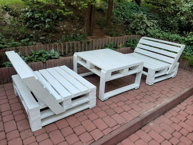 Meble z palet zestaw ogrodowy 2 x ławka + ława PRODUCENT