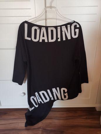 Asymatryczna czarna bluzka fashion