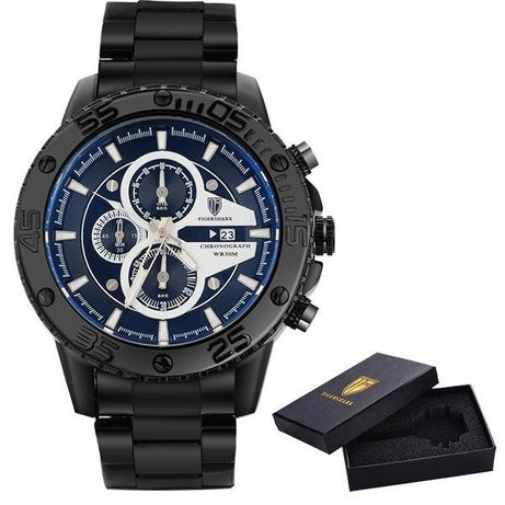 Zegarek męski na bransolecie TIGERSHARK T1580 czarny