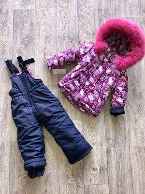 Теплый зимний комбинезон и куртка Натуральный мех