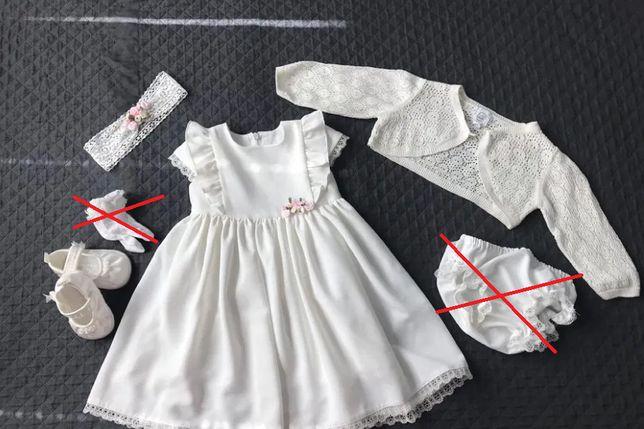 Komplet do chrztu 68 sukienka bolerko buciki 18 opaska- chrzest