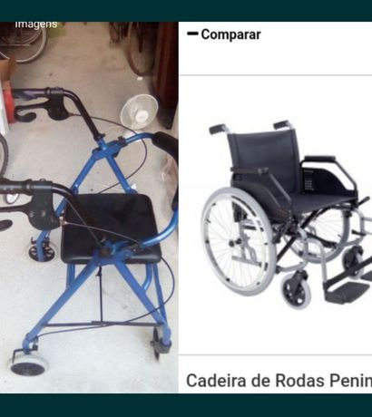 Cadeira rodas peninsular orthos xxi + andarilho + canadianas + bengala