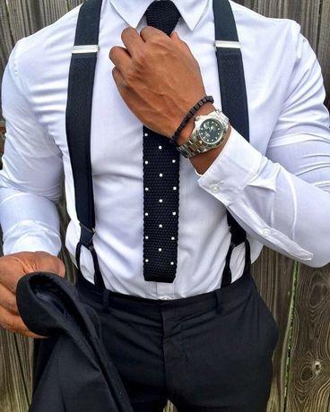 Gravata em malha preta com bolas brancas   Portes grátis
