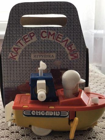 Заводная механическая игрушка «Катер» (СССР)