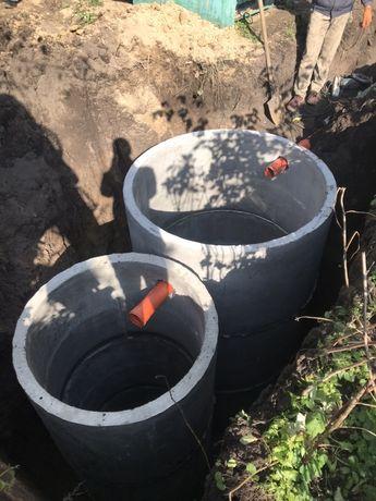 Встановлення септика, зливних ям, круги бетонні канализация