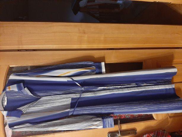 Sukienka dluga, niebiesko-żolta