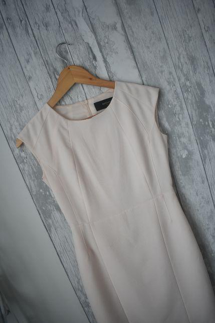 Reserved sukienka pudrowy róż dopasowana 34 xs komunia wesele eleganck