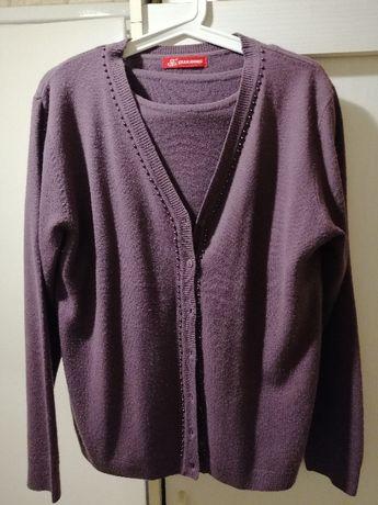 Sweter damski rozpinany fioletowy