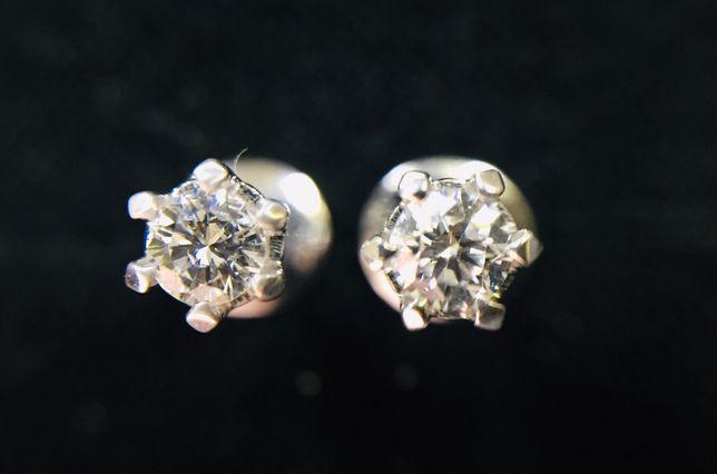Золотоые сережки серьги пусеты с натуральными бриллиантами 0.15 карат.