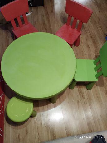 Zestaw Ikea mamut stolik okrągły krzesełko taboret