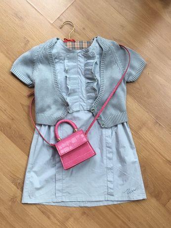 Komplet CHLOE sukienka + sweterek 3-4 lata kolor aqua