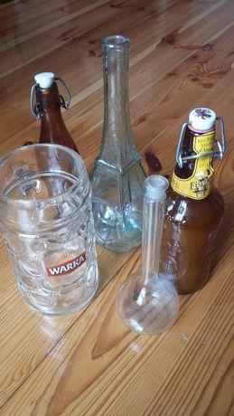 stare butelki kolba + kufel do piwa