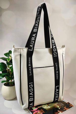 Biała torba shopper bag XXL Laura BIAGGi nowa kolekcja wiosna 2021