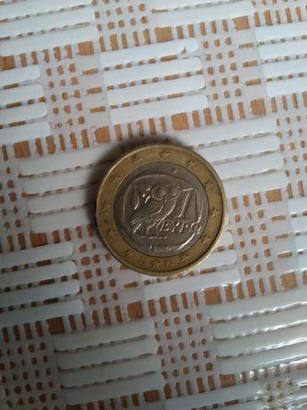1 евро монета сова Греция 2002