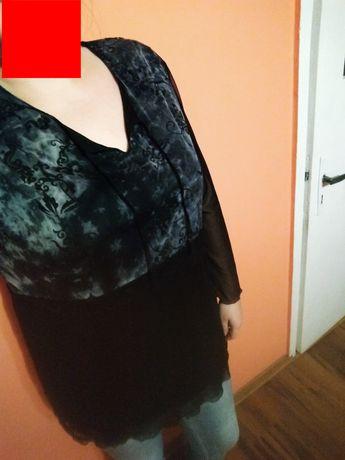 Bluzka tunika damska czarna 52 6XL