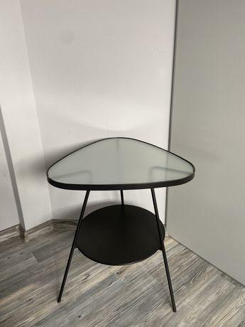 Metalowy stolik nocny czarny ze szklanym blatem