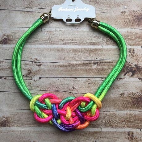 Колье подвеска ожерелье яркое летнее жгут морской узел разноцветное