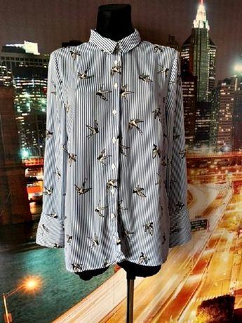new look koszula modny wzór paski ptaki jak nowa hit roz.42