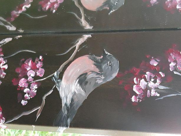 Ręcznie malowane lustro z ptaszkami