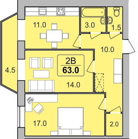 Продам двокімнатну! 63 м2