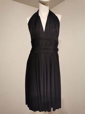 Czarna sukienka wiązana na szyję, przed kolana rozmiar S/M.
