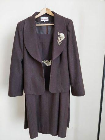 Brązowa sukienka z żakietem Contessa XL
