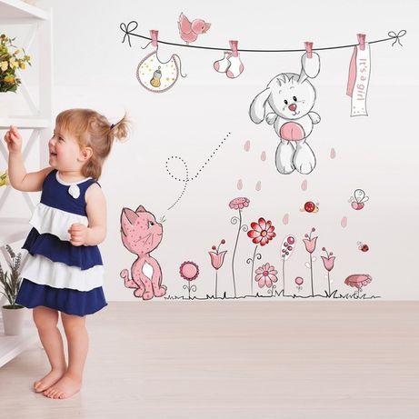 Наклейки стикеры на стену в детскую Зайка и котенок