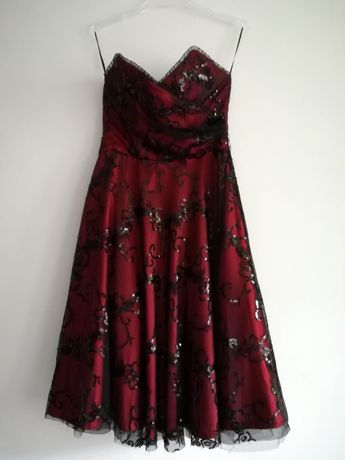 COTTON CLUB czarno-czerwona suknia wieczorowa rozmiar 40