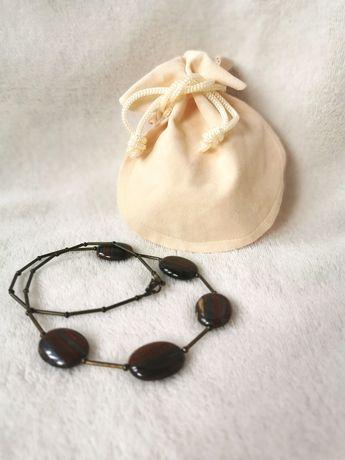 Naszyjnik z prawdziwych kamieni brązowy