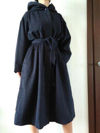 Шерстяное пальто с капюшоном Англия oversize р. 40-44
