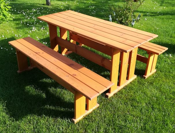 Meble drewniane - Stół + 2 ławy