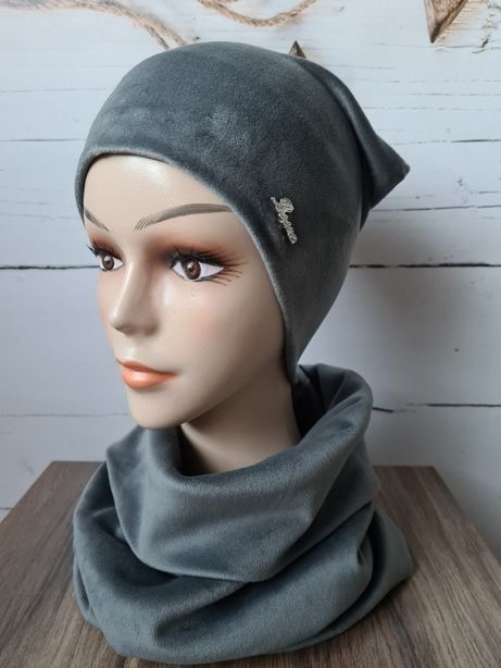 Komplet damski, welur, czapka+komin kolor szary