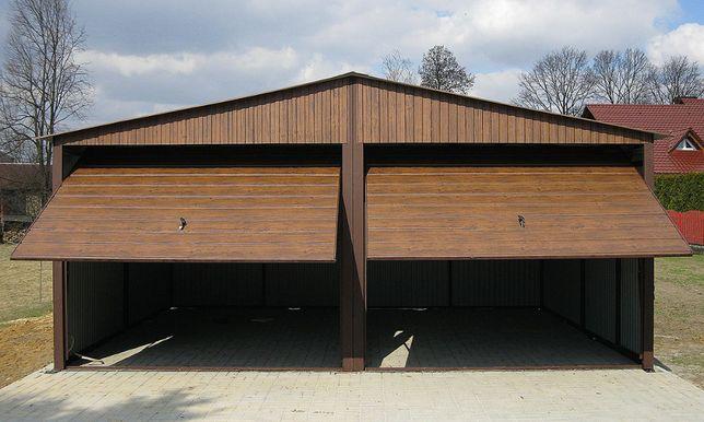 8Garaże Blaszane Drewnopodobne Garaż Orzech 6x5 Blaszaki Poziomy Panel